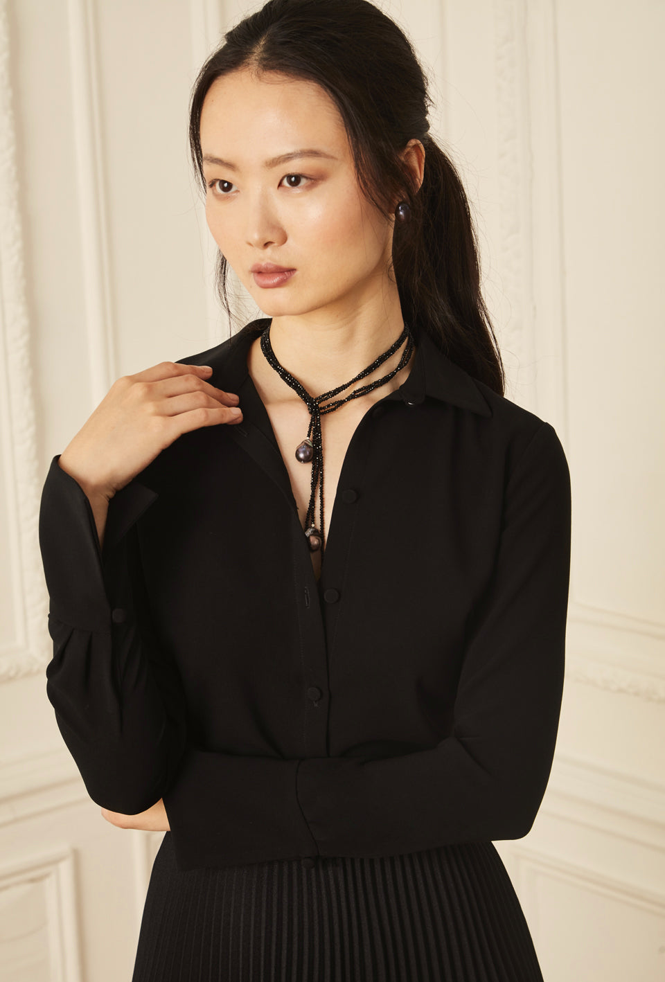 Classic Button Down Blouse - Black