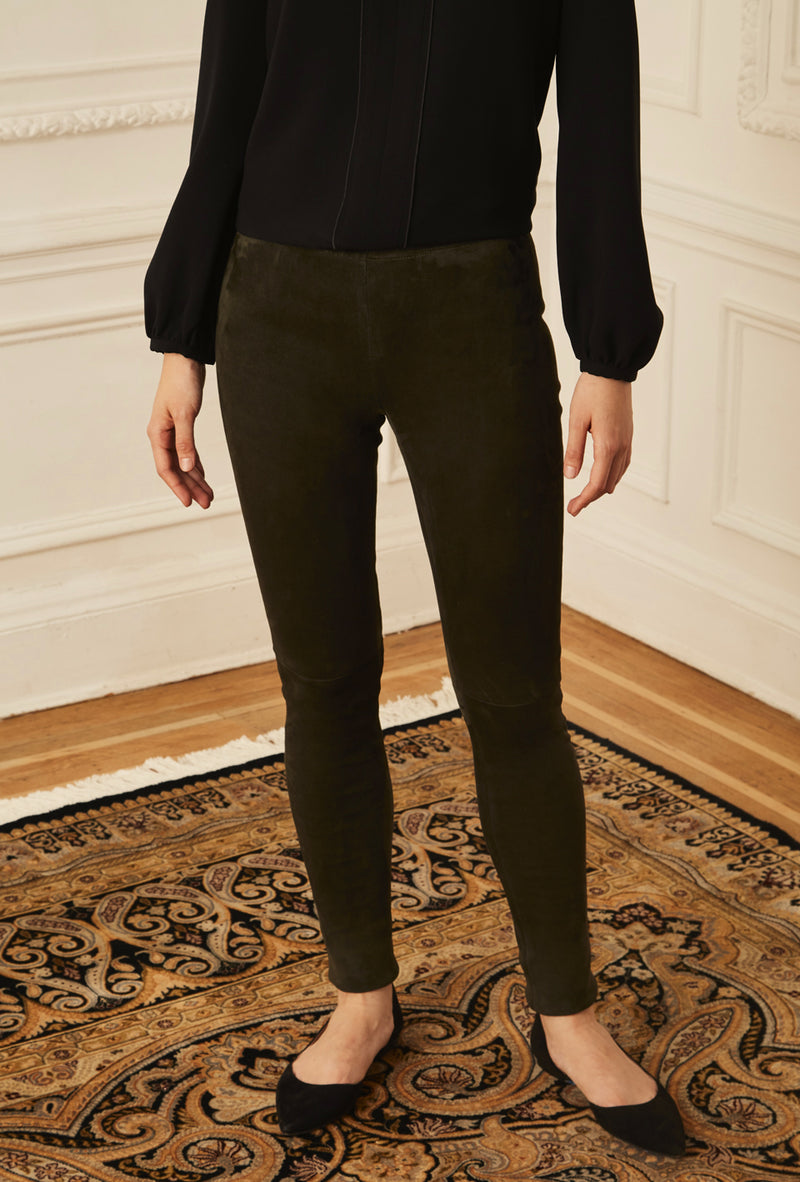 Suede Leggings - Olive