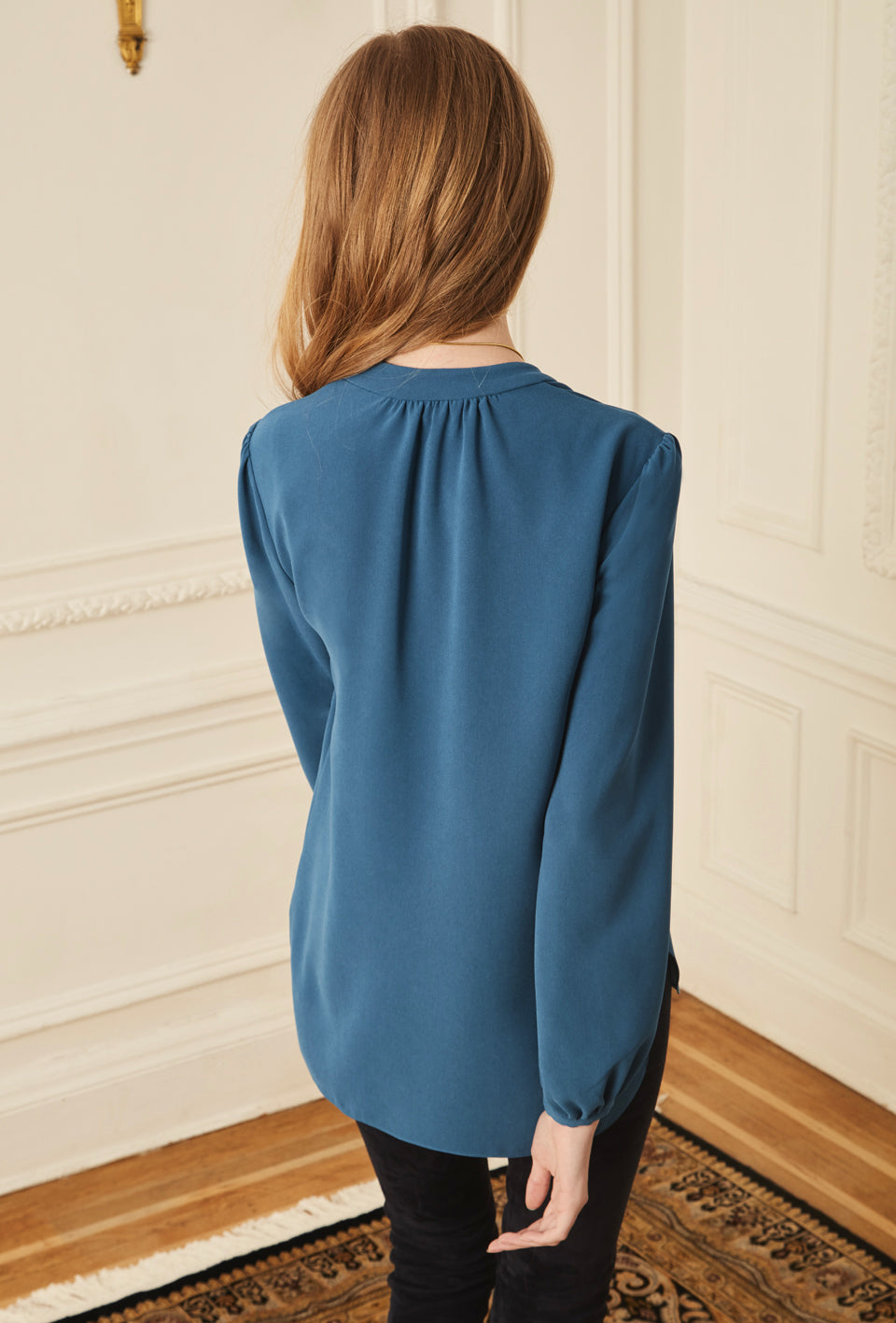 Long Sleeve Gathered Blouse - Teal