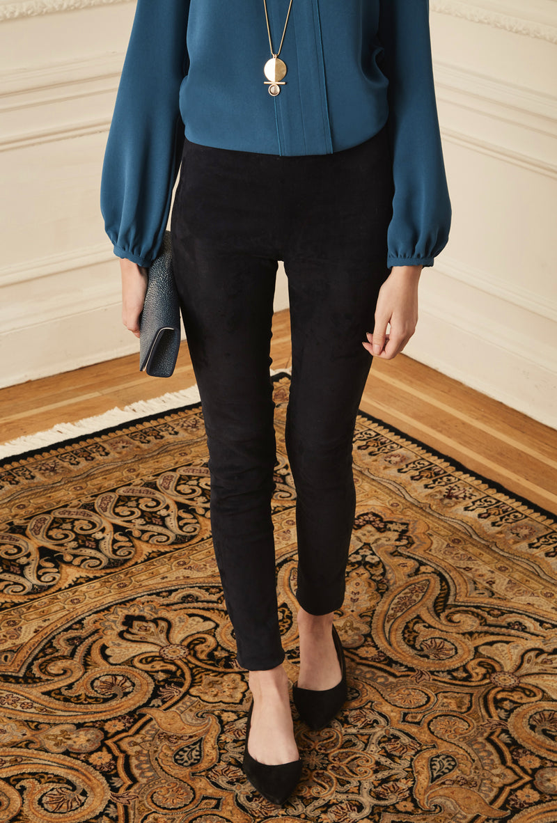 Suede Leggings - Navy
