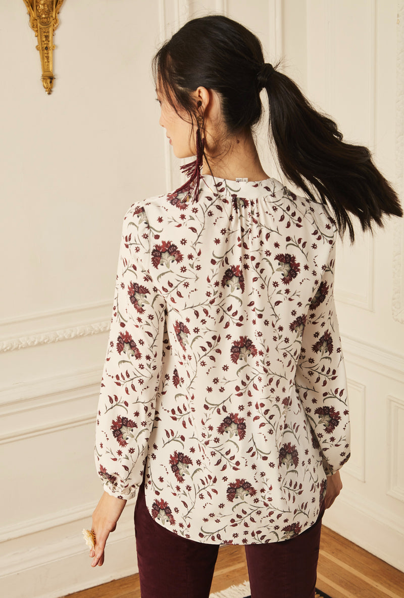 Long Sleeve Gathered Blouse - Burgundy Lotus