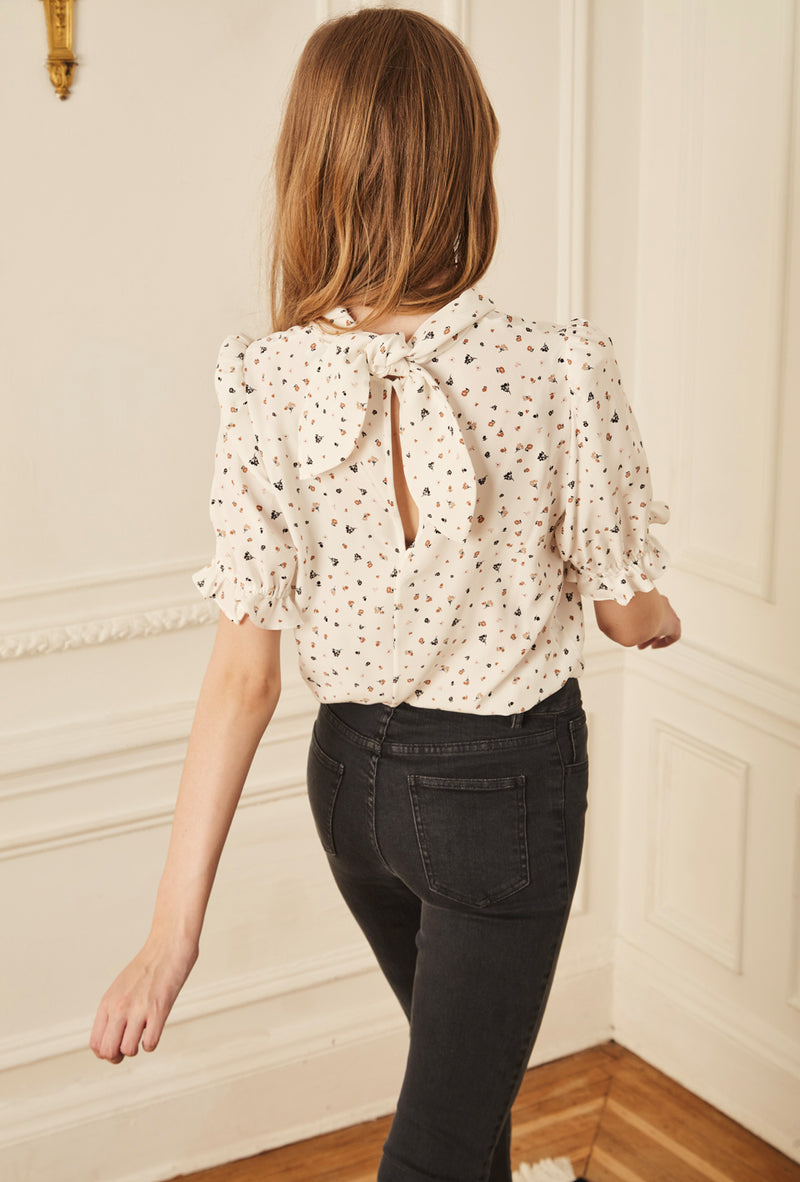 Handkerchief Blouse - Ivory Wildflower