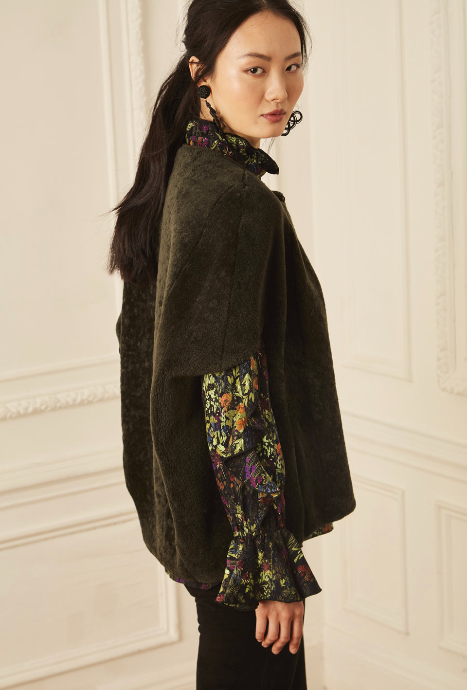 Shearling Cocoon Cape - Olive