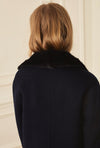 Jacket With Mink Collar - Navy