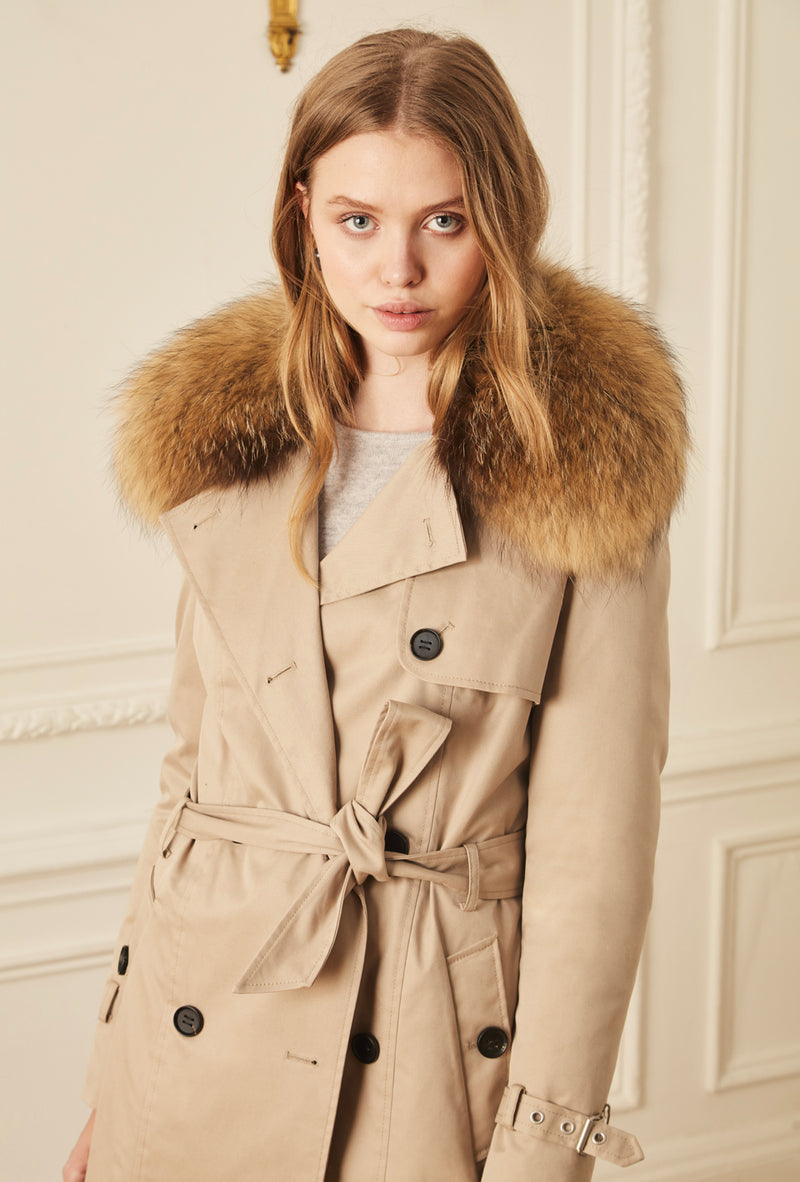 Trench Coat With Fur Trim