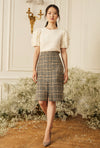 Slit Front Pencil Skirt -  Plaid Wool