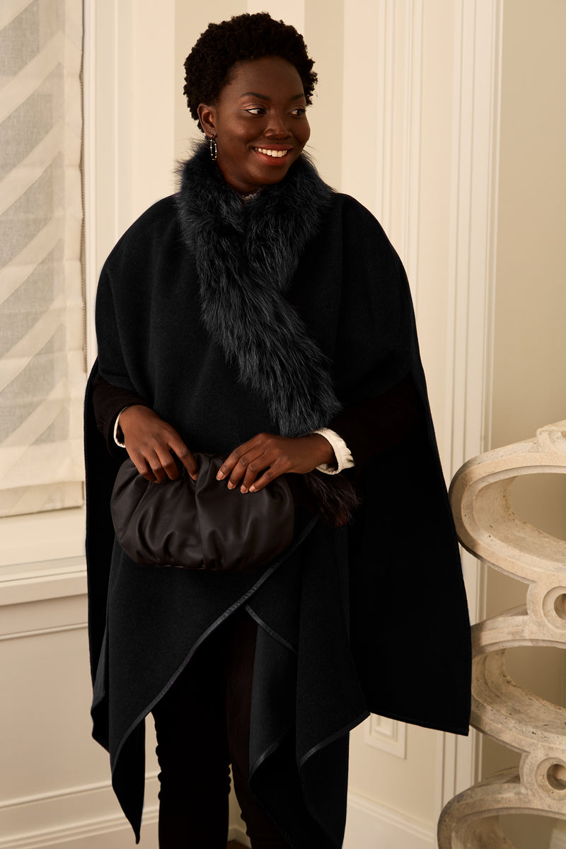 Fur Trim Cape - Black