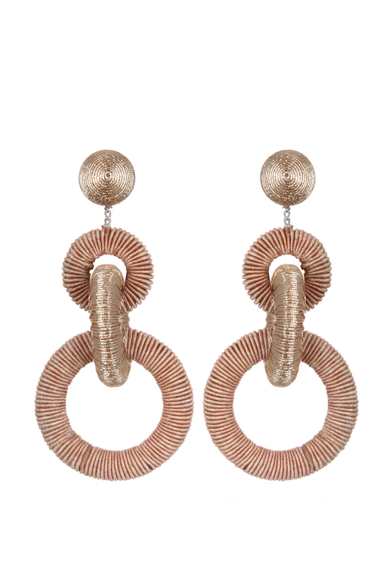 Corded Hoop Earrings - Blush
