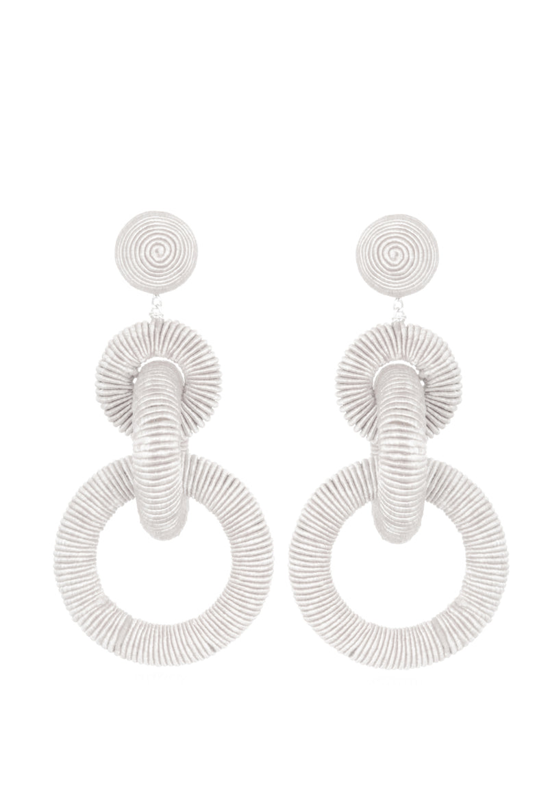 Corded Hoop Earrings - White