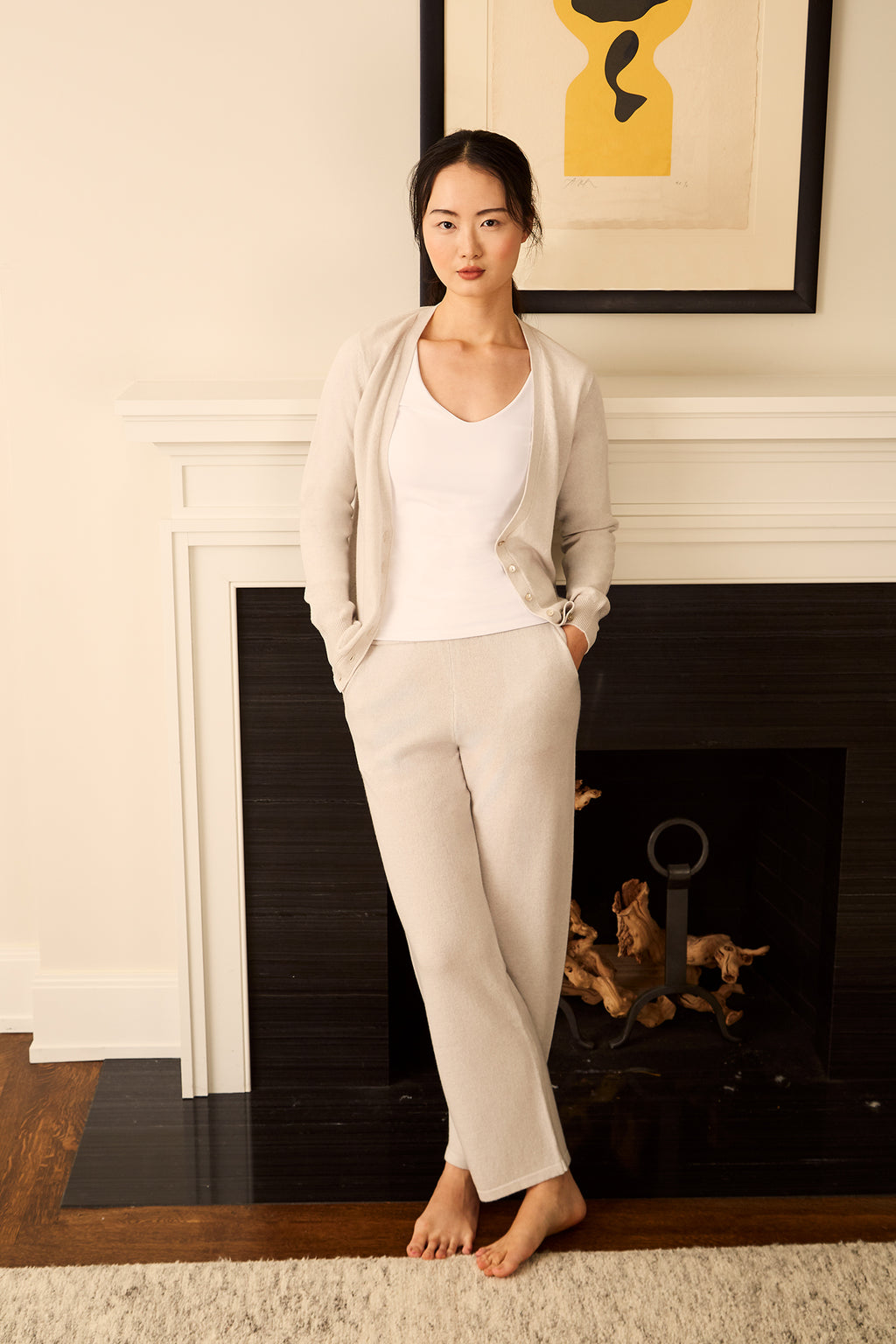V-Neck Cashmere Cardigan - Powder