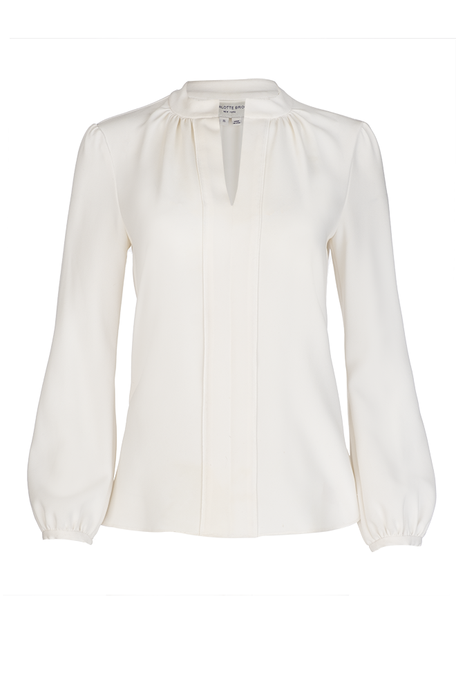 Long Sleeve Gathered Blouse - Ivory