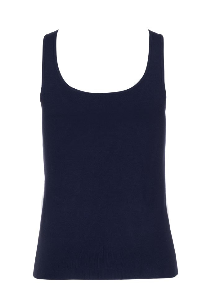 High Low Knit Tank - Navy