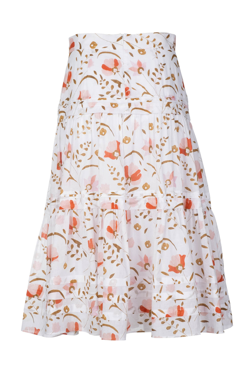 Pintuck Midi Skirt - Blush Cottage Garden