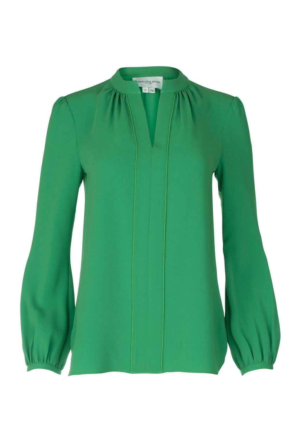 Long Sleeve Gathered Blouse - Emerald