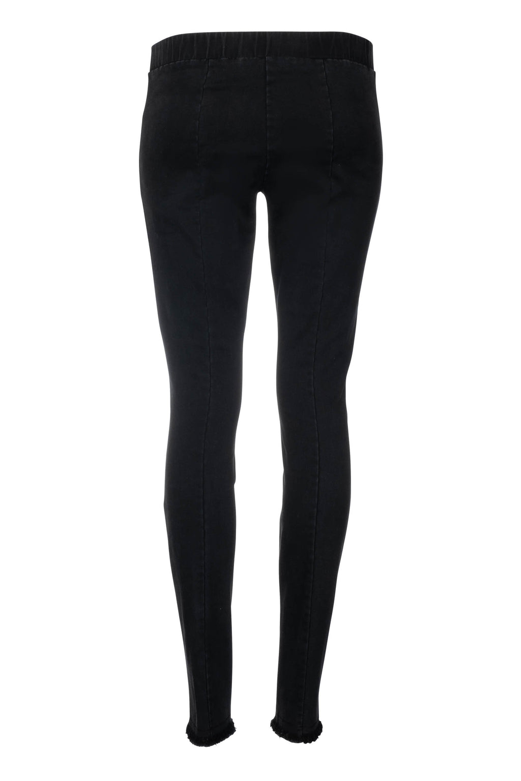 Denim Legging with Fringe - Black