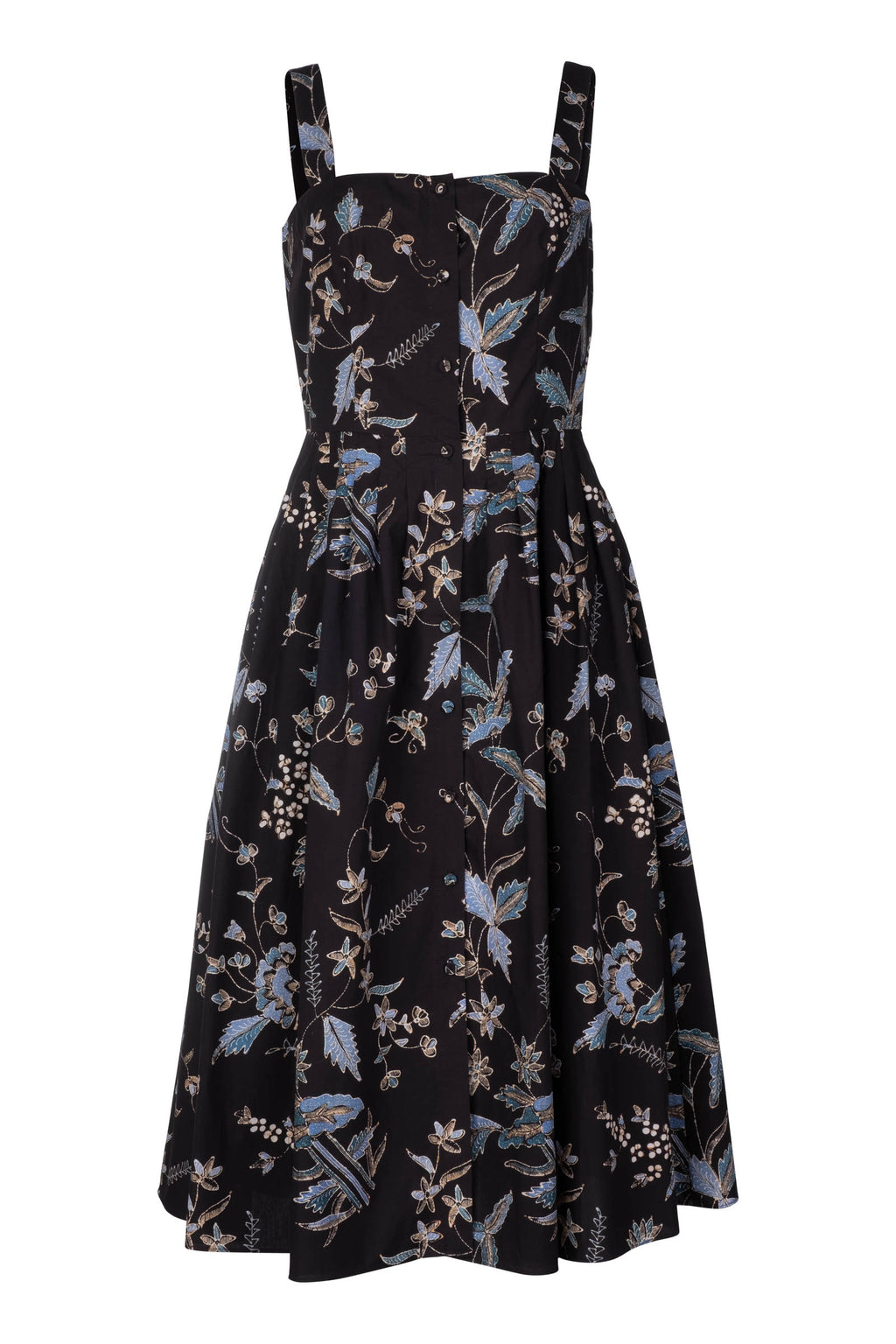 Garden Dress - Navy Jasmine Batik - Pre Order