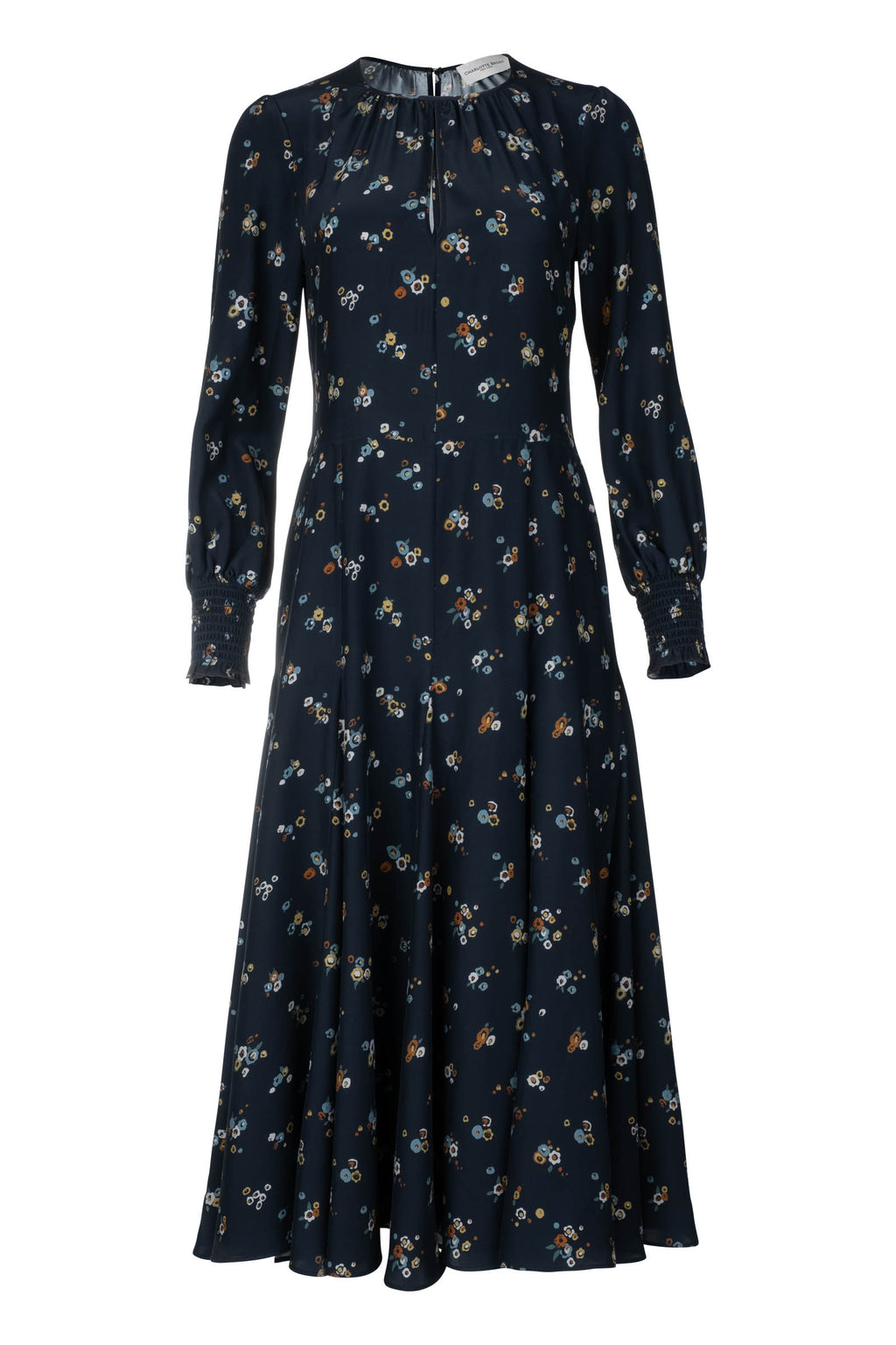 Smocked Keyhole Midi Dress - Meadow Print