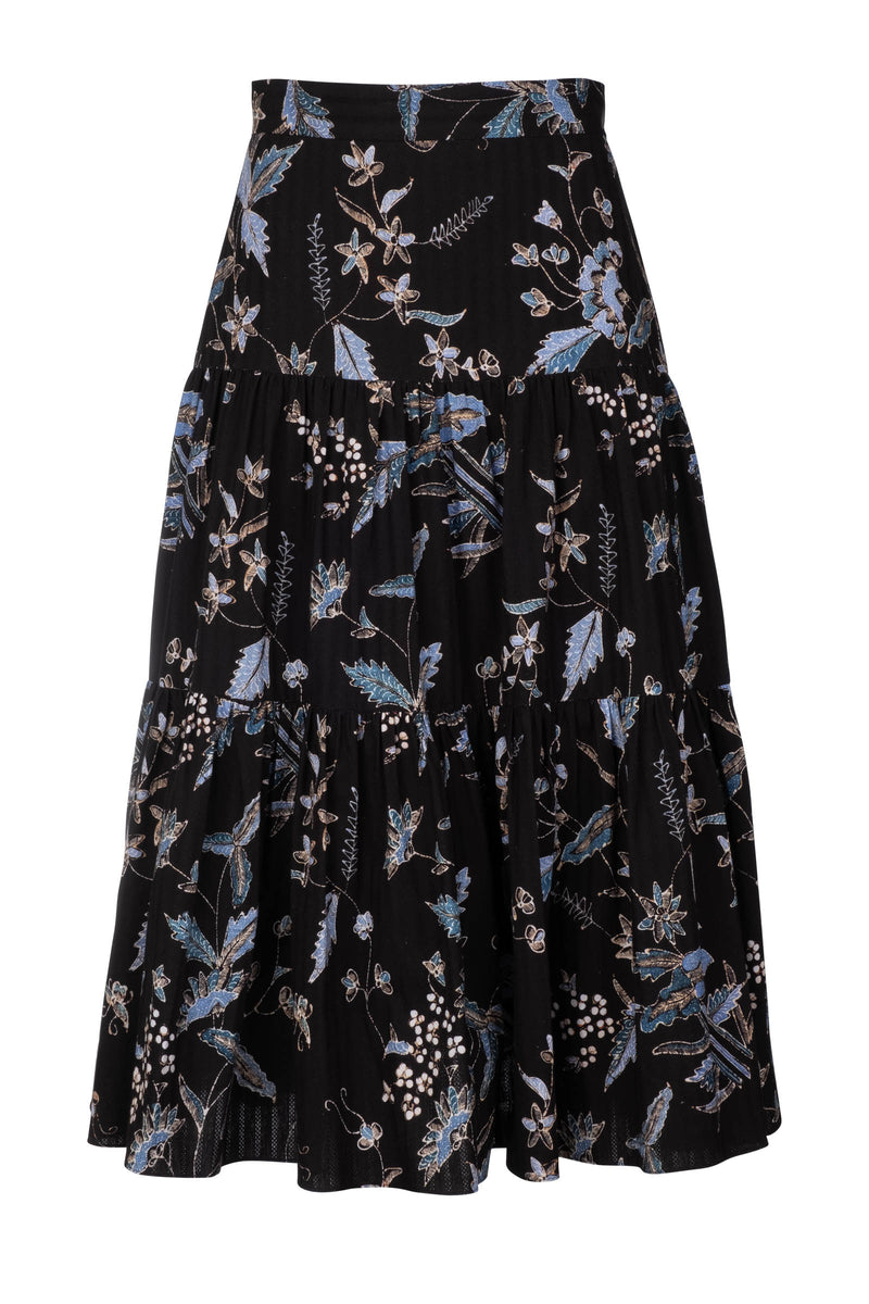 Tiered Midi Skirt - Navy Jasmine Batik