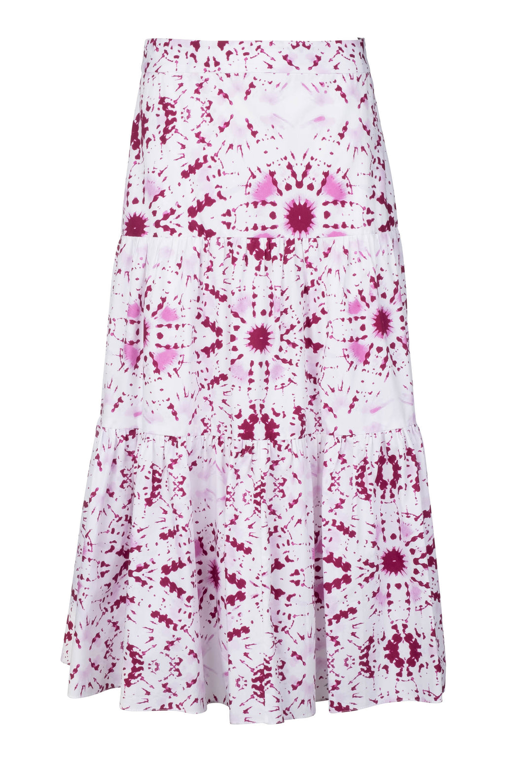 Tiered Midi Skirt - Pink Tie Dye