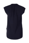 Sleeveless Gathered Blouse - Navy