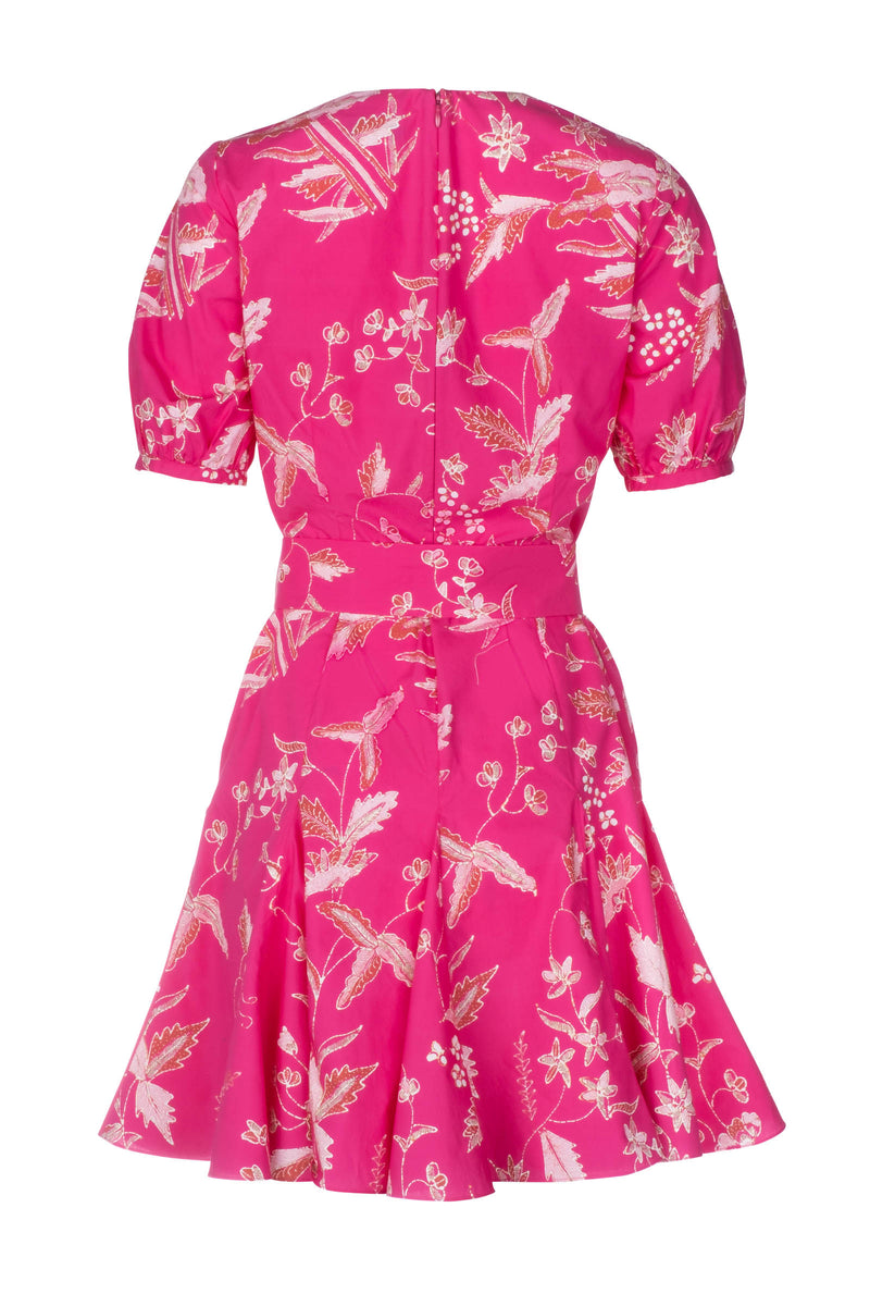 V-Neck Godet Dress - Fuchsia Jasmine Batik