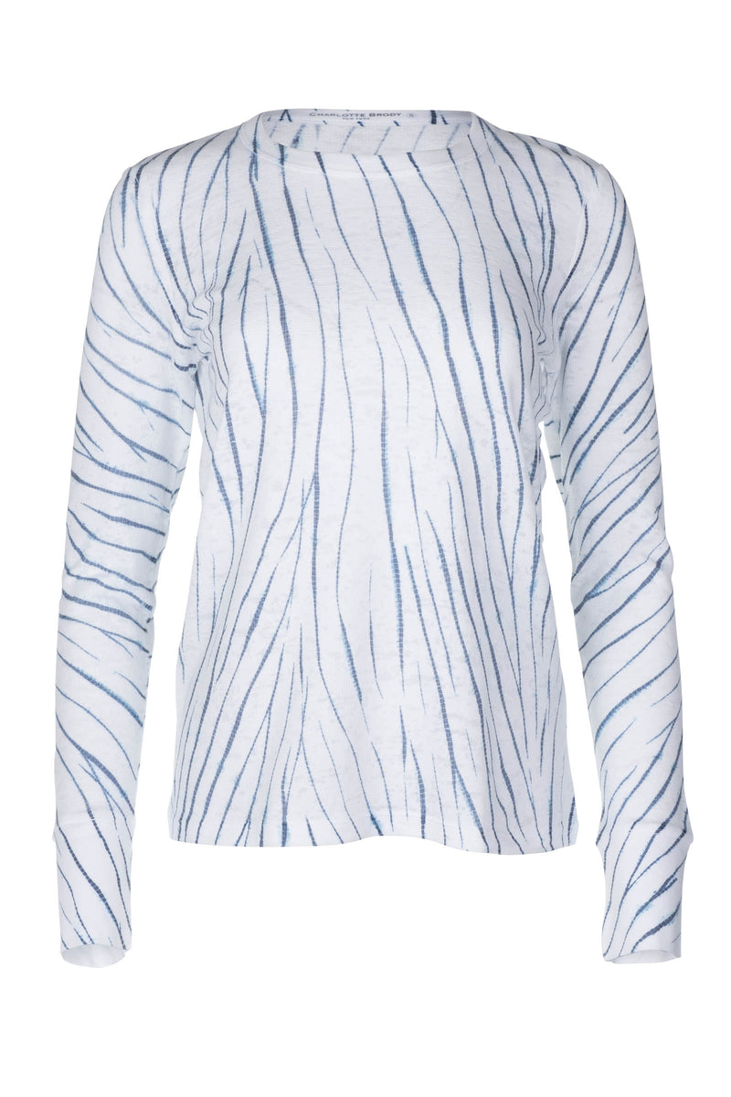 Long Sleeve Waffle Burnout Tee - White Willow