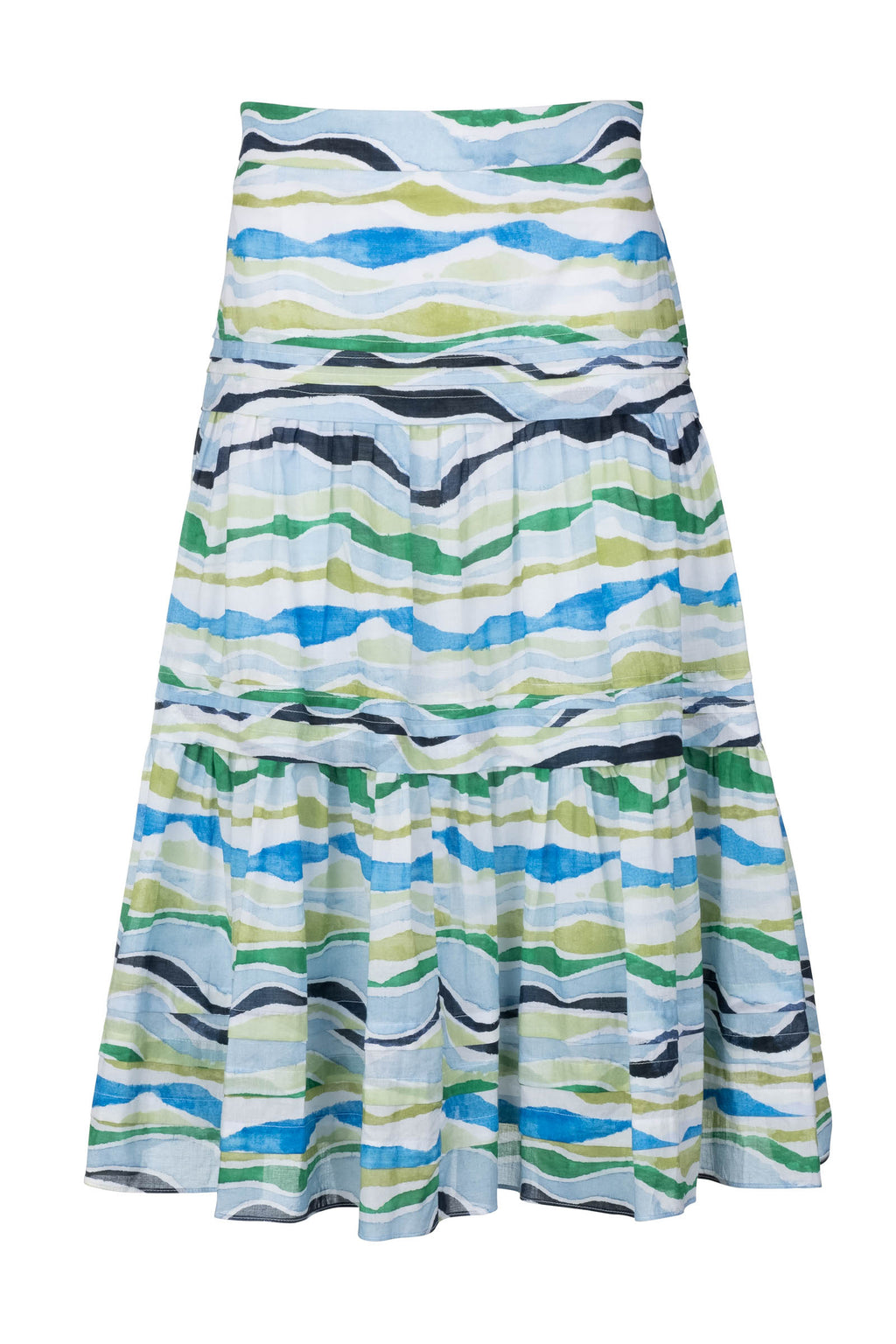 Pintuck Midi Skirt - Blue Watercolor