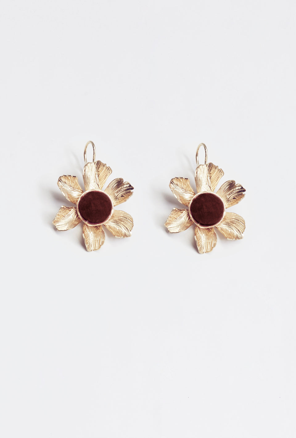 Ruby Quartz Flower Earrings