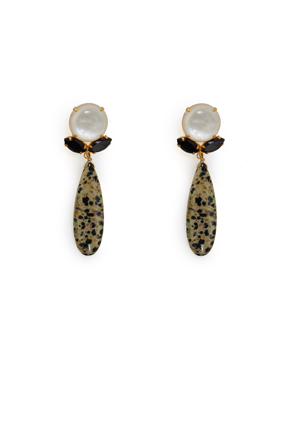 Spotted Jasper and Onyx Earrings