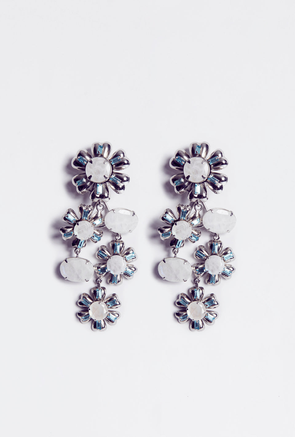 Cascading Blue Quartz Flower Earrings