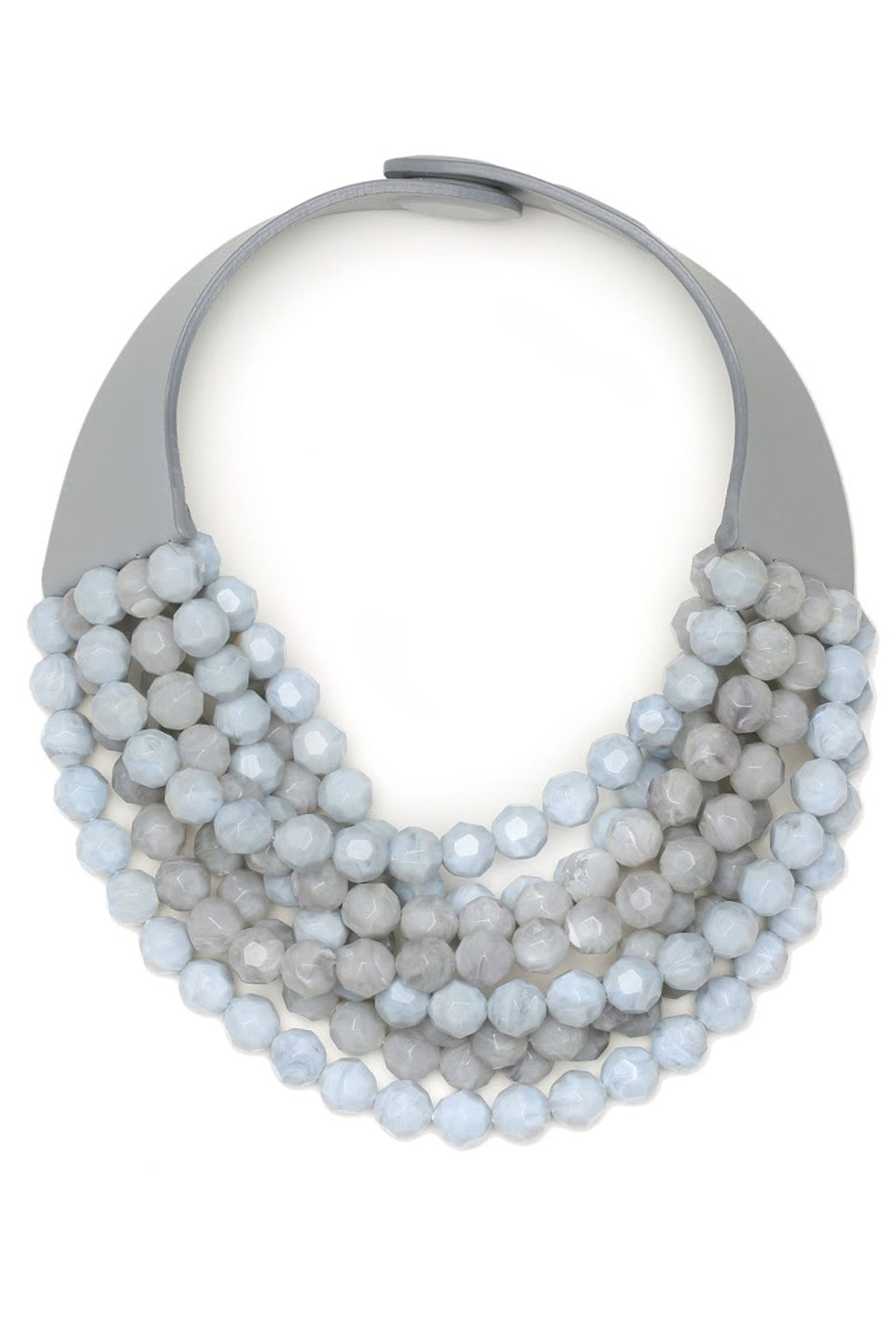 Two Toned Bella Necklace - Cadet Blue/Grey