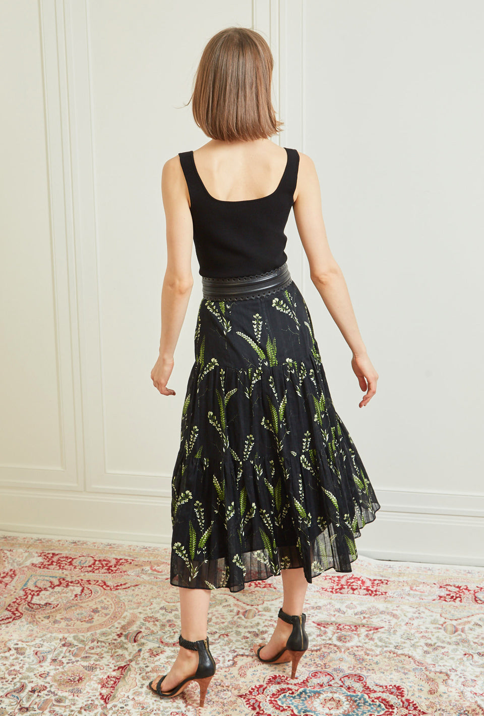 Tiered Midi Skirt - Black Fern