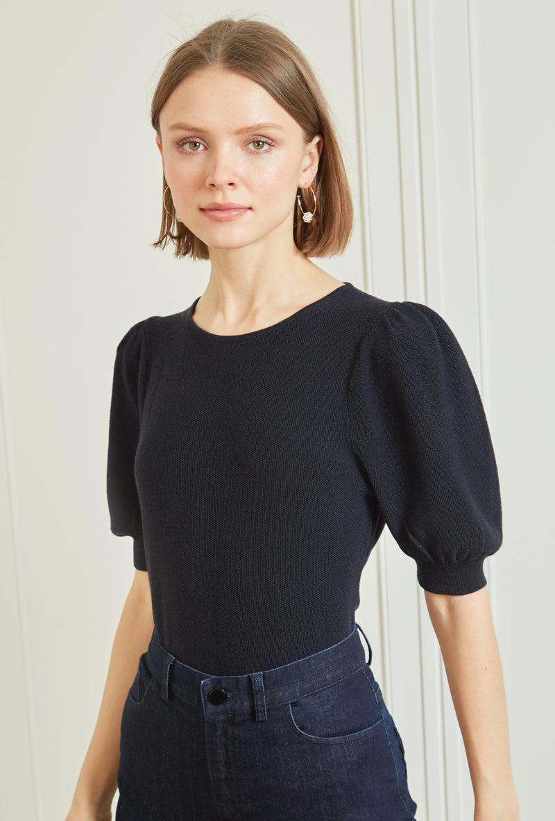 Ruched Sleeve Sweater - Navy