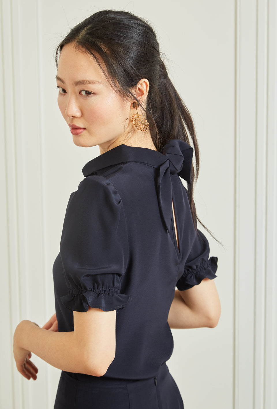Handkerchief Blouse - Navy