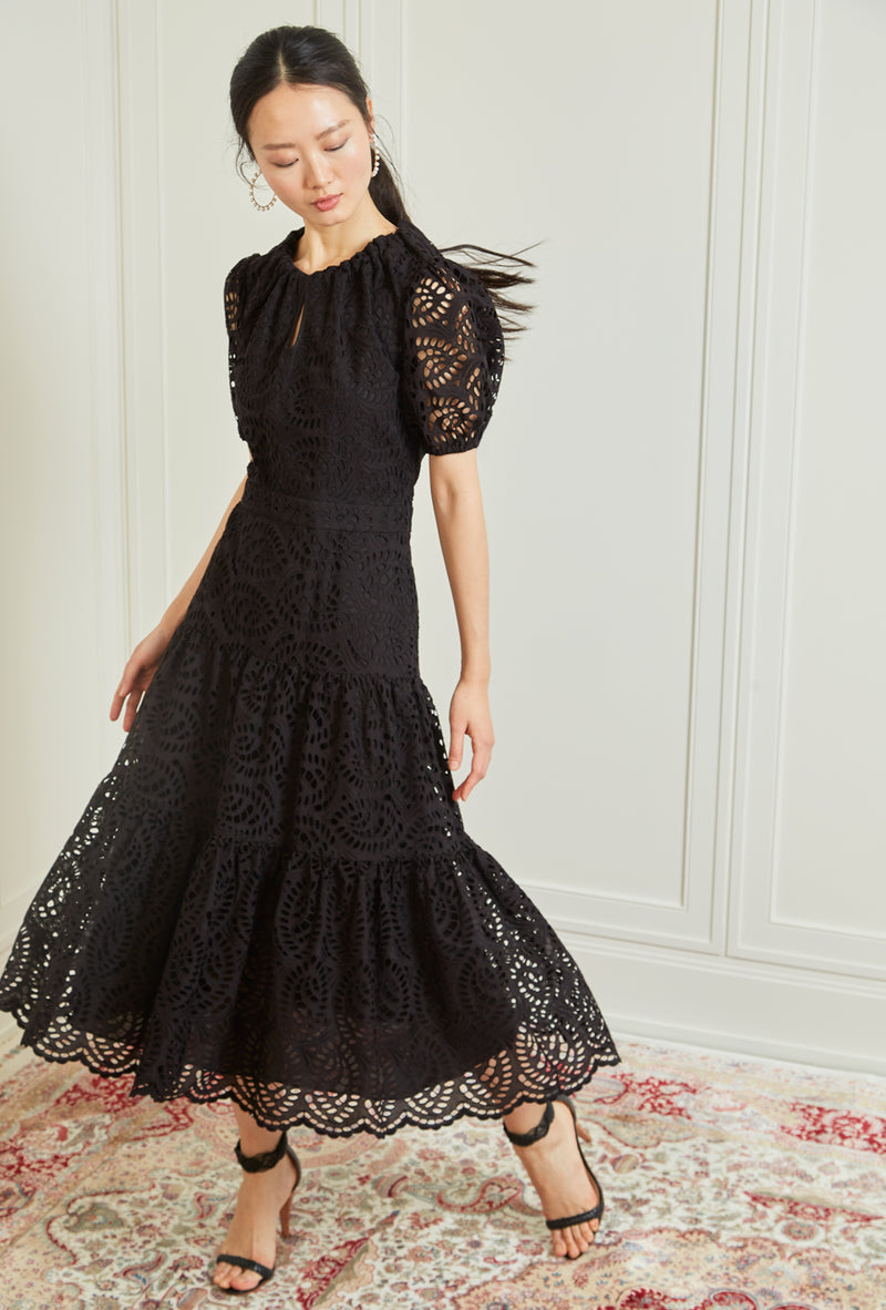 Bardot Midi Dress - Black Eyelet