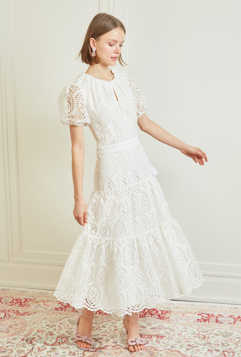 Bardot Midi Dress - White Eyelet