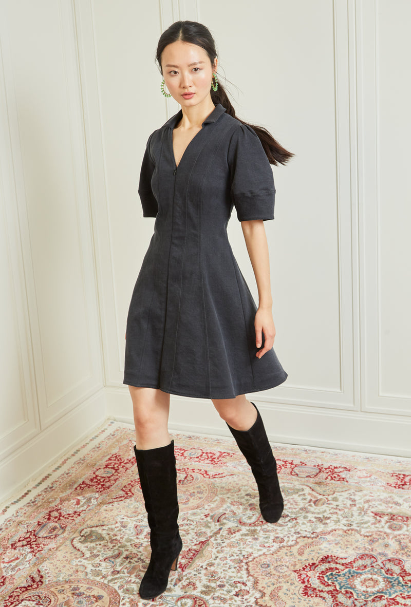 Lantern Sleeve Denim Dress - Black