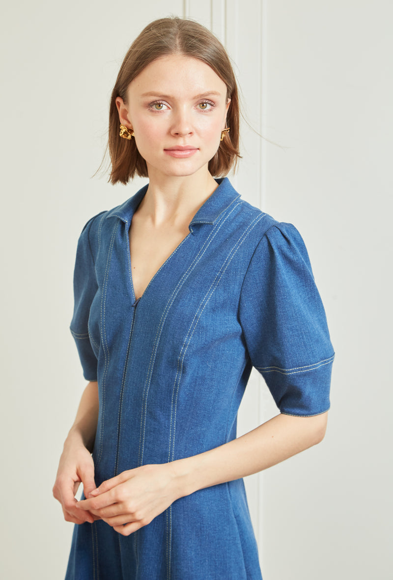 Lantern Sleeve Denim Dress - Blue