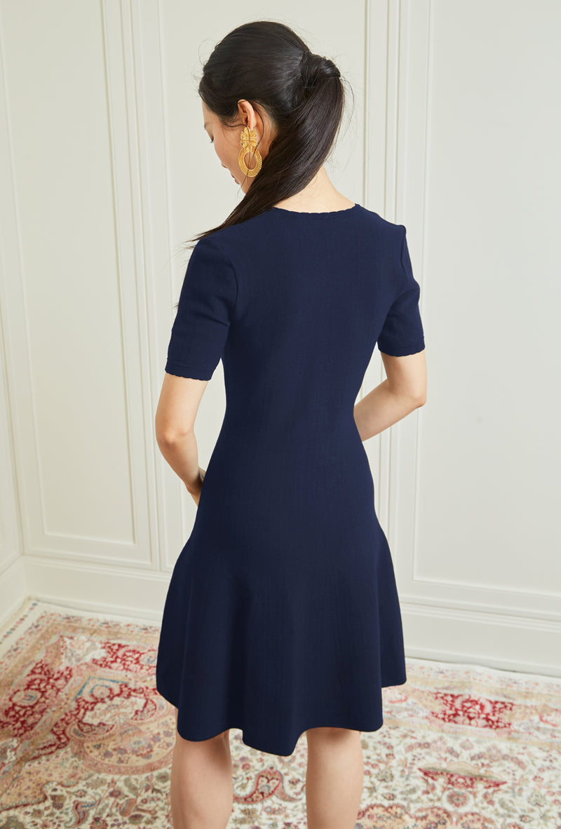 V-Neck Knit Dress - Navy