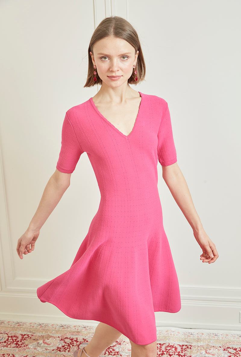 V-Neck Knit Dress - Hot Pink
