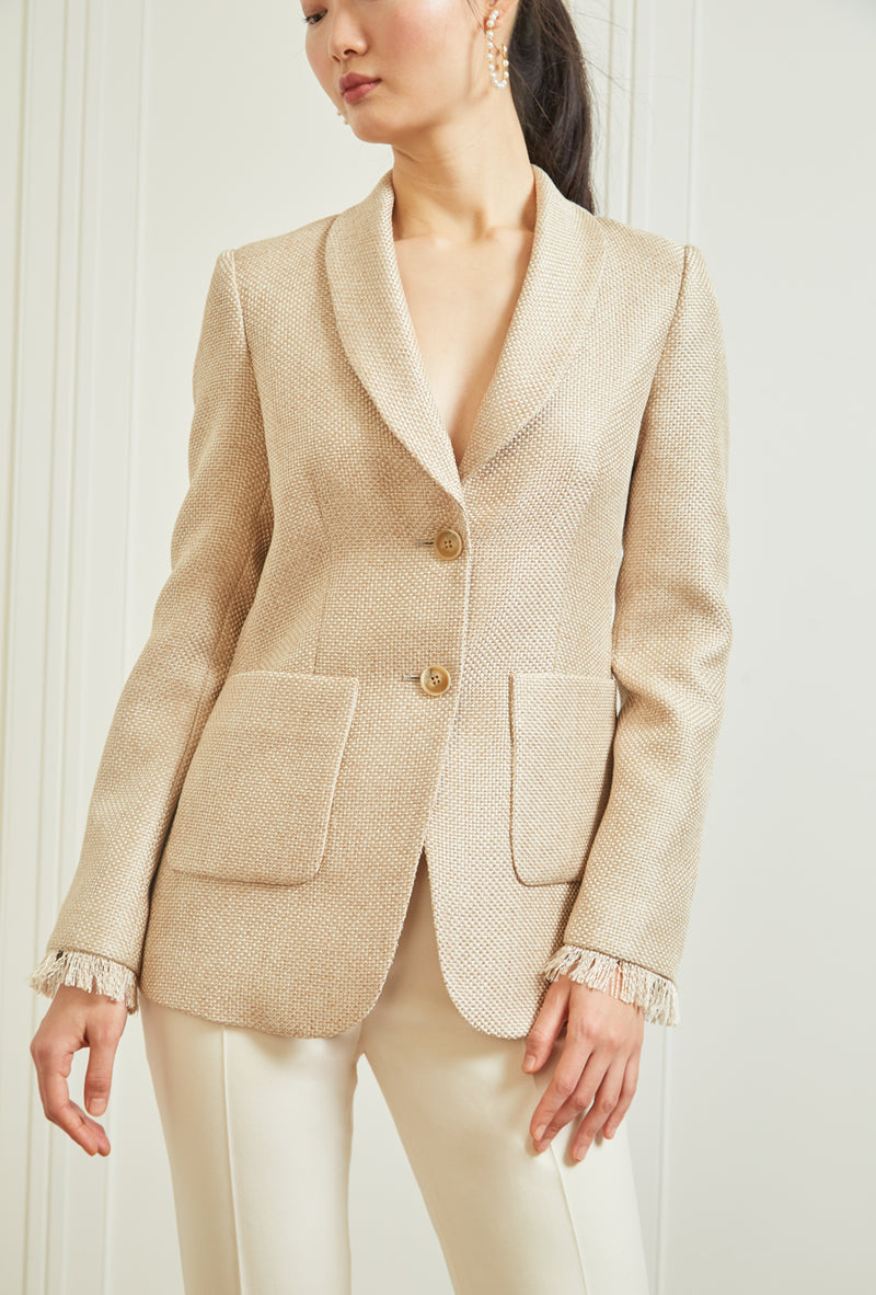 Shawl Collar Blazer - Golden Basketweave