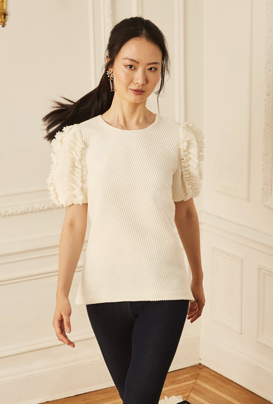 Lantern Sleeve Ruffle Blouse - Knitted Novelty