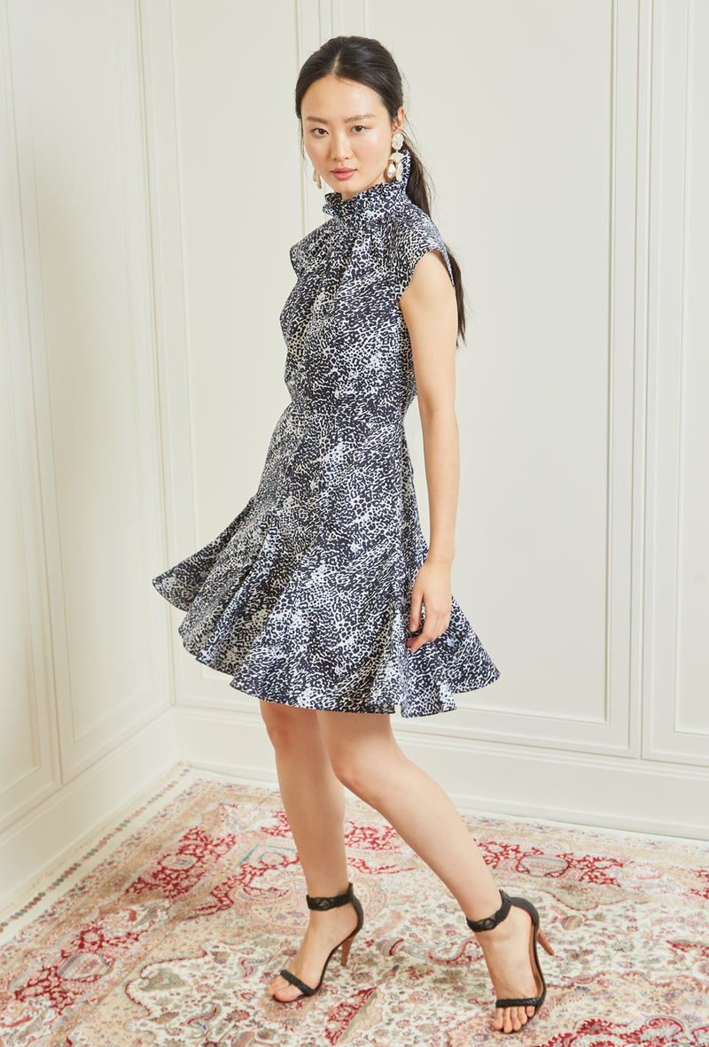 Cannes Dress - Navy Animal Print