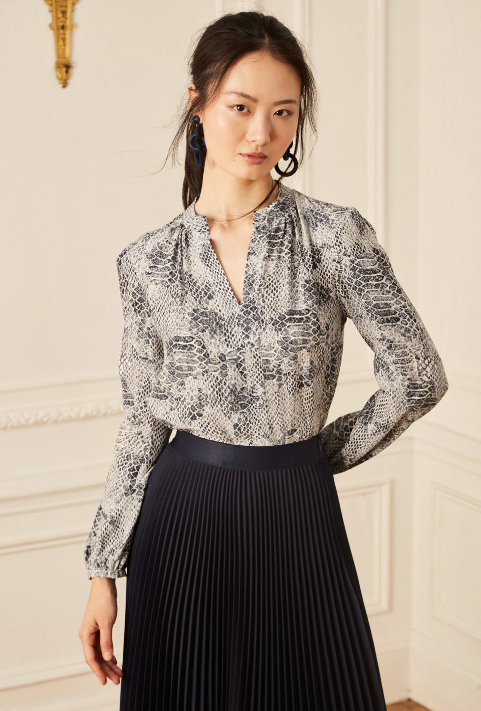 Long Sleeve Gathered Blouse - Navy Reptile