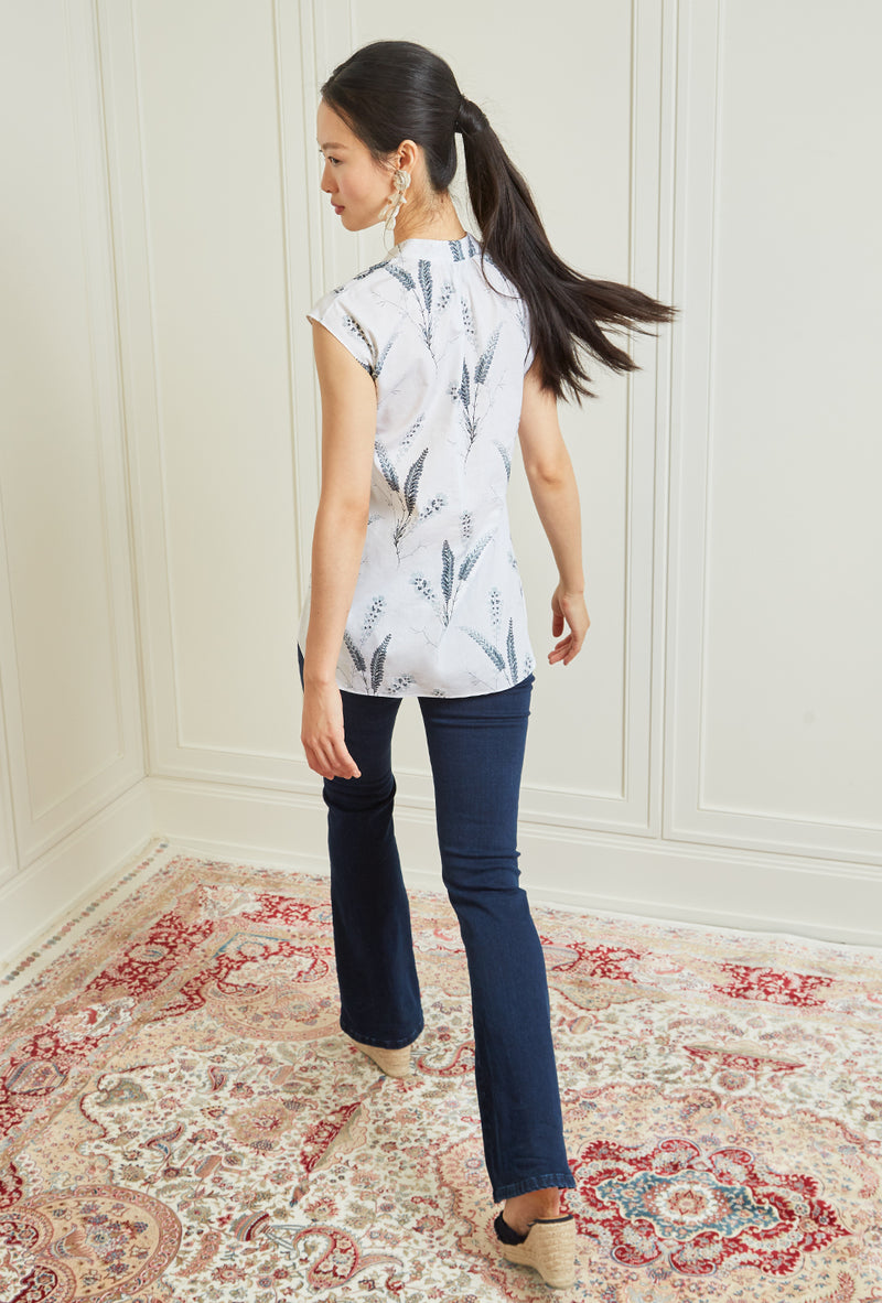 Sleeveless Gathered Blouse - Aegean Fern