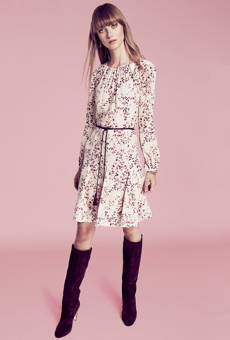 Godet Shirt Dress - Blush Ginkgo