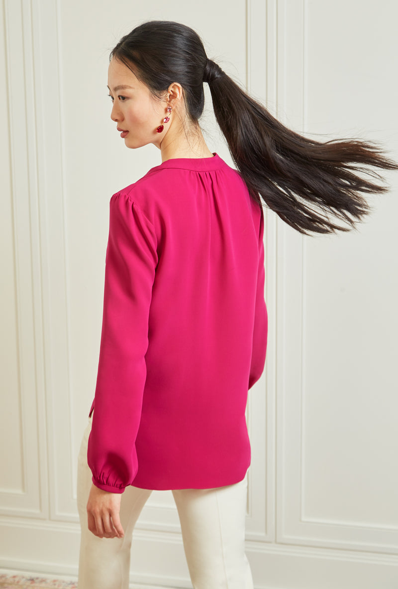 Long Sleeve Gathered Blouse - Hot Pink