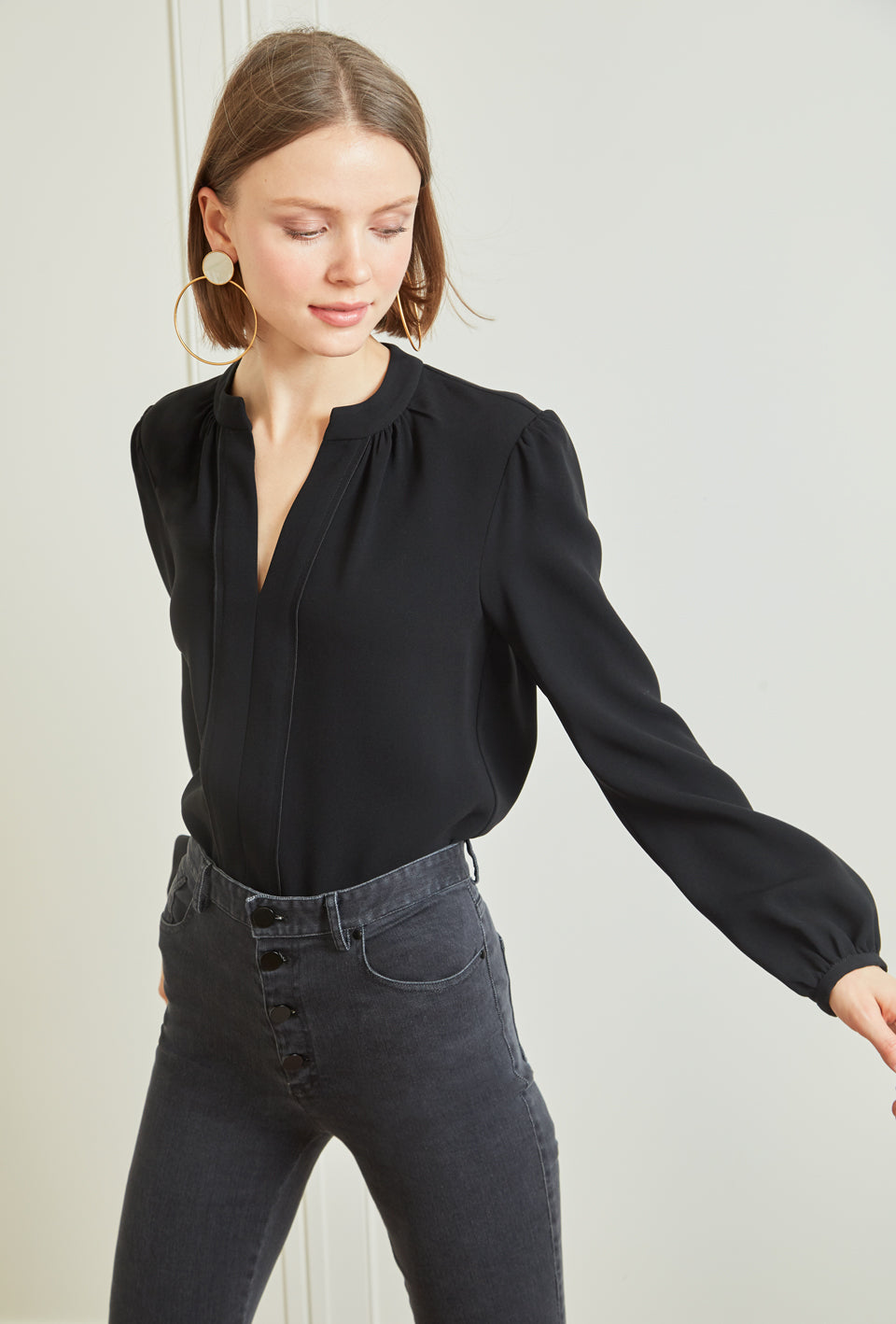 Long Sleeve Gathered Blouse - Black