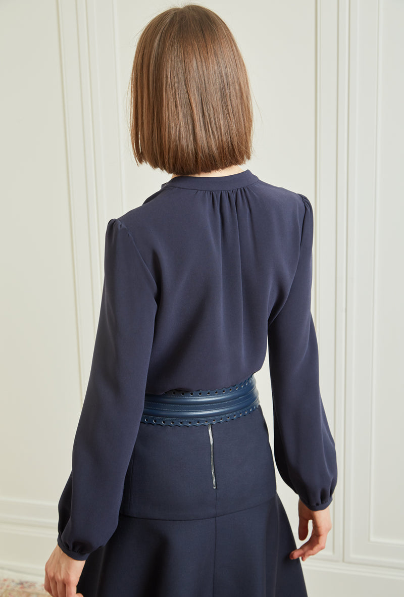 Long Sleeve Gathered Blouse - Navy