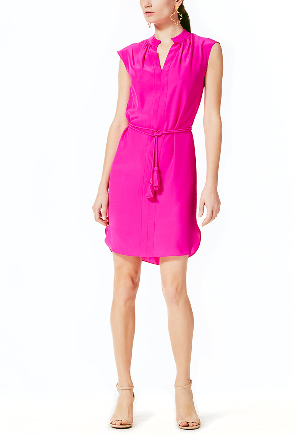 Sleeveless Shirt Dress - Pink